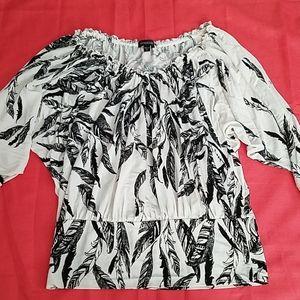 Bebe Black & White 3/4 Sleeve Blouse Sz MD
